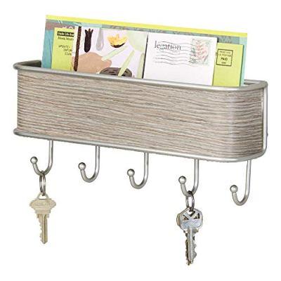 mDesign Wall Mount Metal Mail Organizer Storage Basket - 5 Hooks