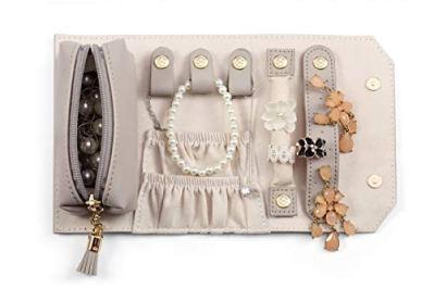 Vlando Rollie Portable Jewelry Roll, Lipstick/Daily Jewelries Storage Soft Case- Grey