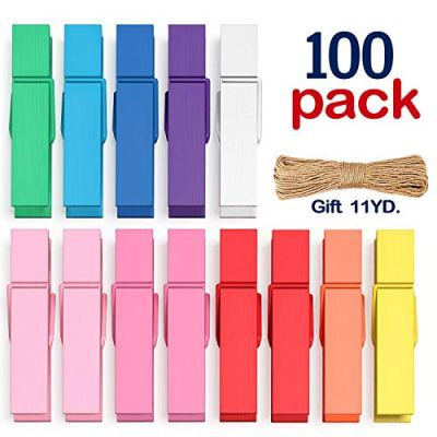 Clothes Pins Mini Clothespins Colored - 100 PCS Wooden Small Clothespins for Pictures Photo Paper Clip , Ideal for Crafts, Chip Clips, Home Decoration 1.38 X 0.28 inches, with 11 Yards Jute Twine