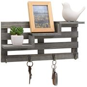 MyGift Vintage Gray Wood Wall-Mounted 3-Tiered Stair Display Shelf