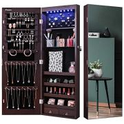 Nicetree 8 LED Mirror Jewelry Cabinet, Jewelry Armoire Organizer