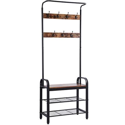Ogrmar Vintage Coat Rack Shoe Bench, Hall Tree Entryway Storage Shelf