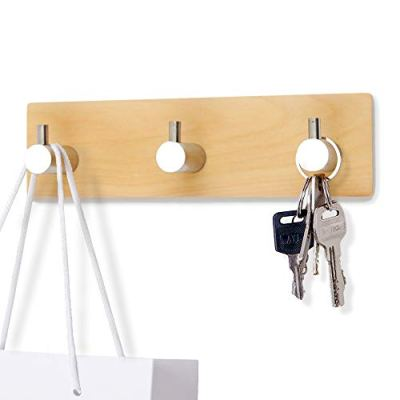 Tonlead Natural Wood Key Holder for Wall, Adhesive Key Hook Rack Stainless Steel
