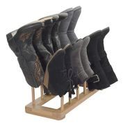 MobileVision Bamboo Boot Rack Free Standing Shoe Organizer, Holds 6 Pairs