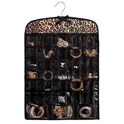 "Once Upon a Rose Hanging Jewelry Organizer, Over The Door Jewelry Organizer, Double Sided with Clear Pockets, 17"" x 30"", Includes Hanger (Leopard Print)"