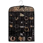 """Once Upon a Rose Hanging Jewelry Organizer, Over The Door Jewelry Organizer, Double Sided with Clear Pockets, 17"""" x 30"""", Includes Hanger (Leopard Print)"""