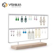 VERGILIUS Earrings Organizer Jewelry Display Wood Stand (44 Holes 2 Layers) (White)