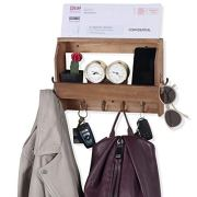 Wallniture Entryway Décor Mail Holder Shelf Coat Rack with 8 Hooks Wood Walnut