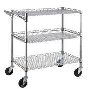 Finnhomy 3 Tier Heavy Duty Commercial Grade Utility Cart, Wire Rolling Cart