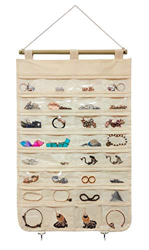 JSXD Hanging Jewelry Organizer,32 Clear PVC Pockets with 2 Jewelry Storage Metal Hooks for Holding Rings, Necklaces, Earrings and Bracelets (Beige)