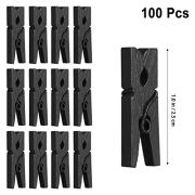 VOSAREA 100PCS Mini Paper Clips,Wooden Utility Clips Versatile Clothespin Clips Picture Photo Cable Pictures Organizer Clips for Hanging Photos Painting Artwork (Black)