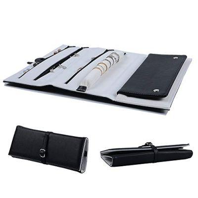 ONLVAN Travel Jewelry Roll Leather Travel Jewelry Case Bag Soft Travel Jewelry Organizer Storage (Black)