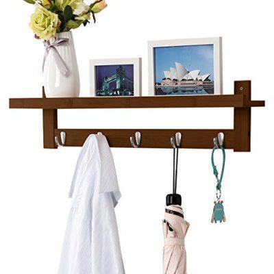 LANGRIA Coat Rack Shelf, Coat Rack Wall-Mounted Bamboo Wooden Hook Rack