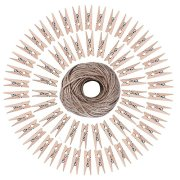 BronaGrand 50pcs Mini Wooden Utility Paper Clip, Clothespins Clip, Clothes Line Clips with 300 Feet Natural Twine