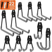Garage Hooks, Inteli-topia Steel Garage Storage Hooks Utility Double Heavy Duty
