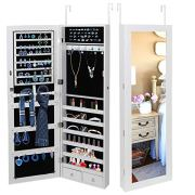 ZenStyle Jewelry Armoire Lockable Wall/Door Mounted Jewelry Organizer with Mirror and Drawers Jewelry Cabinet for Bracelet Ring Necklace Earring Watch Makeup Sunglasses(White