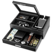 Lifomenz Co Mens Jewelry Box Valet Tray with Drawer and Charging Station