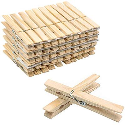 ESFUN 100 Pack Bulk Wooden Clothespins Large Clothes Pegs Clips for Laundry Arts Crafts Decor Storage, Approx. 4 inches Length