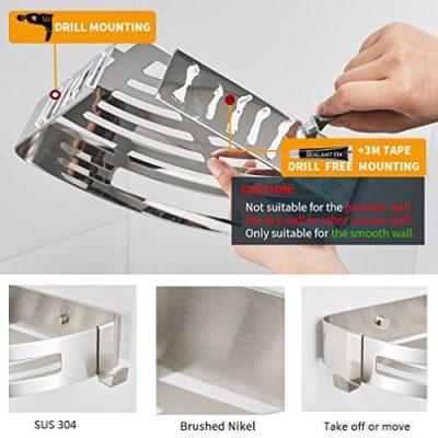 BESy Adhesive Bathroom Shower Corner Shelf Shower Corner Caddy