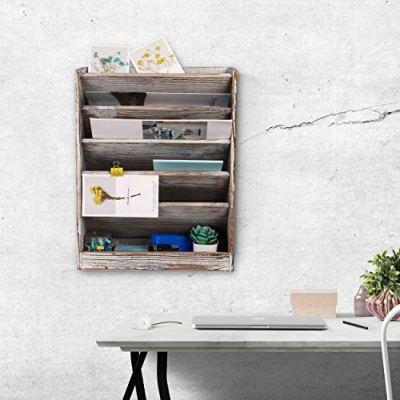 Superbpag Wood Wall Mounted File Holder Organizer Literature Rack
