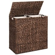 Best Choice Products Oversized Water Hyacinth Double Laundry Hamper Basket w/ 2 Liner Basket Bags, Espresso