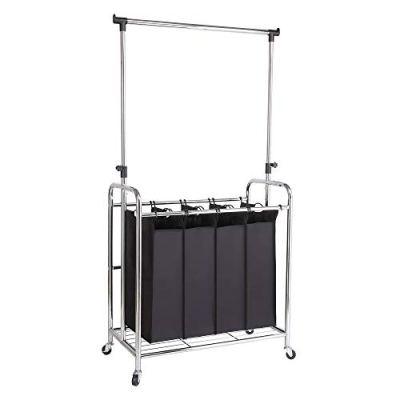 Bonnlo 4-Bag Laundry Sorter with Adjustable Hanging Bar, Removable Bags and Brake Carters, Black