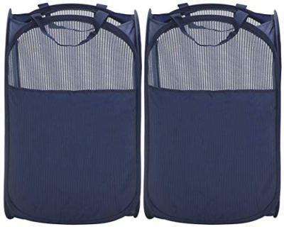 STORAGE MANIAC Pop-Up Mesh Clothes Hamper, Foldable Laundry Hamper, Side Pocket|Durable Handles|Enlarged Opening, 2- Pack