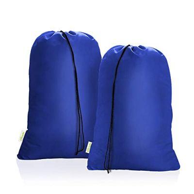 OTraki Heavy Duty Large Laundry Bag 28 x 45 inch 2 Pack XL Drawstring Travel Organizer Bags Camp Home College Dorm Tear Resistant Dirty Clothes Big Storage Bag, Three Loads of Clothes Blue