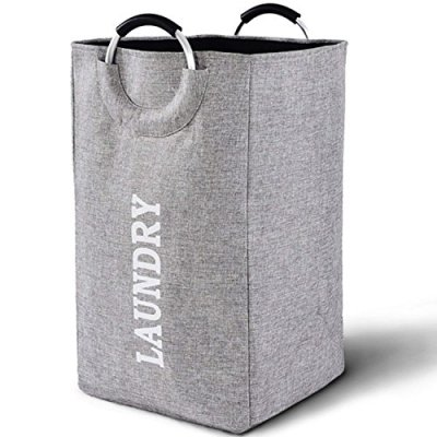 Large Collapsible Laundry Hamper Bag with Handles, 15 x 15 x 26 Inches Foldable Clothes Basket for Washing Storage