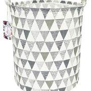 "TIBAOLOVER 19.7"" Large Sized Waterproof Foldable Canvas Laundry Hamper Bucket"
