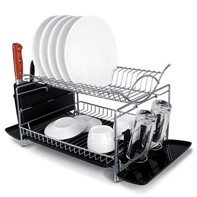 Dish Drying Rack, MNOPQ Non Rusting 2 Tier Large Capacity Dish Drainer Rack with Drainboard
