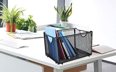 CLATINA Office Metal Mesh File Organizer with Handle Letter Storage Crate