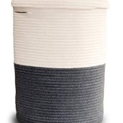Large Laundry Basket with Lid, Tall Laundry Hamper with Lid, Cotton Rope Basket