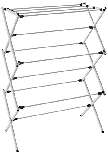"""HOMZ Foldable Frame, Rustproof, 23 ft Space Clothes Drying Rack, 29.4"""" x 14.3"""" x 42"""", Stainless Steel"""