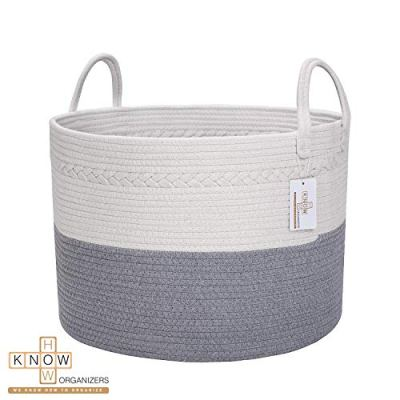 Large Cotton Rope Laundry Basket - Baby Laundry , Woven Laundry Basket, Dog Toy Basket, XXL Blanket Basket, Long Handles, Decorative Nursery Hamper | Grey White 20'' x 13'' Wide Extra Large