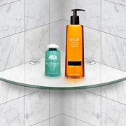 Mount-It! Corner Glass Shelf For Bathroom, Shower, Bedroom and Closets