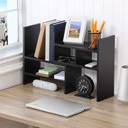 FITUEYES Adjustable Desktop Organizer,Wood Display Storage for Home & Office