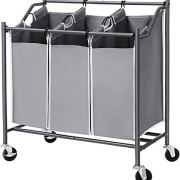 SONGMICS 3-Bag Laundry Cart Sorter, Rolling Laundry Basket Hamper, with Casters and Brakes, Gray URLS70GS