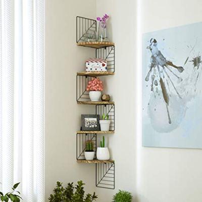 Love-KANKEI Corner Shelf Wall Mount of 5 Tier Rustic Wood Floating Shelves
