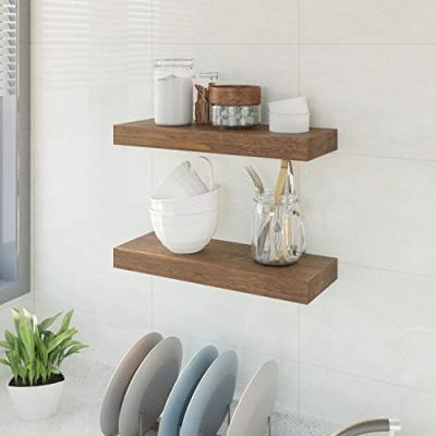 BAMFOX Floating Wall Shelf Set of 2,Natural Bamboo Wall Decor Storage Shelf