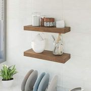 BAMFOX Floating Wall Shelf Set of 2,Natural Bamboo Wall Decor Storage Shelf