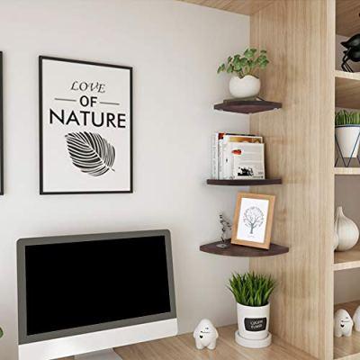 OROPY Wall Mount Solid Wood Floating Corner Shelves Set of 3
