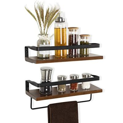 COZIA Floating Shelves Wall Mounted Storage Shelves Rustic Wood Decor Set