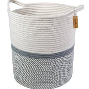 Goodpick Large Cotton Rope Basket 14.2'' x 13.4'' x 16.2'' -Baby Laundry Basket Tall Woven Basket Blanket Nursery Bin
