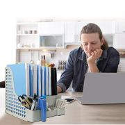 Tesinll File Folder Desktop Organizer Magazine File Holder Gray