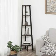 VASAGLE Industrial Corner Shelf, 5-Tier Ladder Bookcase, Storage Rack