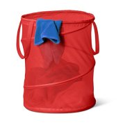 Honey-Can-Do HMP-01261 Pop-Up Mesh Spiral Hamper, Large, Red