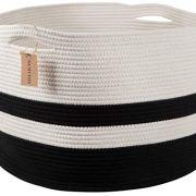 """Numyton XXXL Large Cotton Rope Laundry Basket 22"""" x22""""x 14"""" Woven Basket"""