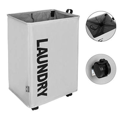 DOKEHOM X-Large Laundry Basket with Leather Handle and Wheel (3 Colors), Collapsible Fabric Laundry Hamper, Foldable Clothes Organizer, Folding Washing Bin (Grey, L)