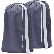 HOMEST 2 Pack XL Nylon Laundry Bag with Strap, Machine Washable Large Dirty Clothes Organizer, Easy Fit a Laundry Hamper or Basket, Can Carry Up to 4 Loads of Laundry, Grey